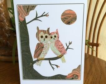 Green & Peach Owl Card, Lovebirds, Owl Art, Bird, cut paper art, whimsical, anniversary, wedding card, friendship card, owls, sweethearts