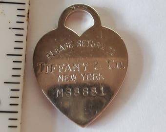 Vintage Return to Tiffany Heart Pendant Charm with Sterling Silver Chain