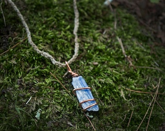 Kyanite hemp necklace - Chakra alignment - Kyanite wire wrap - healing stones and crystals - reiki necklace - chakra stone - Meditation