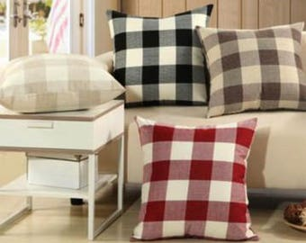 Buffalo Check Pillow Covers - Checked Cushion Covers - Plaid Cushion Covers - Throw Pillow Covers - Country Cushion Covers - Set of 2