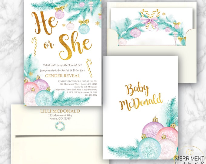 Holiday Gender Invitation // Christmas Tree // Winter Gender Reveal // Pine // Gold // He or She // Pink // Blue // ASPEN COLLECTION