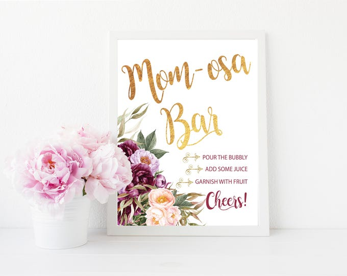 "Mimosa Bar Sign 8x10""  // Momosa Bar // Mimosas // Burgundy // Gold // Floral // Peonies // Peony // Made to Match our FLORENCE COLLECTION"
