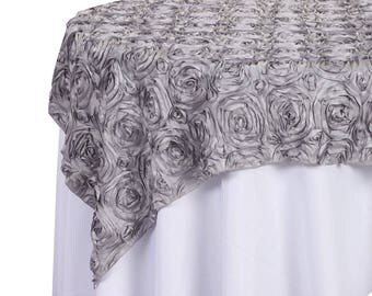 Satin Rosette Table Overlay With Serged Edge, 72-Inch x 72-Inch