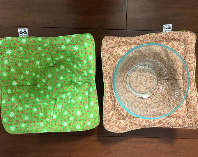 Gingerbread men and candy canes / Microwave bowl cozies SET OF TWO