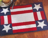 2 Patriotic Stars and Stripes Flag Hand Quilted Placemats