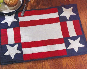 Patriotic Stars and Stripes Flag Hand Quilted Placemats - set of 2