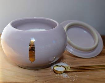 Ceramic Lidded Jar, Pink Stoneware Jar, Pottery Spice Jar, Salt Cellar, Gold and Pink Ceramics, Sugar Keeper, Kitchen Canister, Feather Jar
