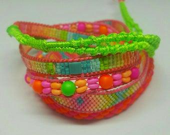 Wrap bracelet 5 rows neon Boho
