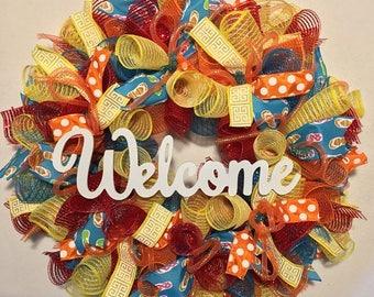 Sale Flip Flop Wreath, Summer Wreath, Spring Wreath, Welcome Wreath, Flip Flop Mesh Wreath, deco mesh flip flop wreath, welcome, summer wrea