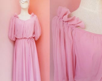 1970s Clothing Women Disco Dress Evening Gown Dress Party Dress Prom Dress Vintage 70s Pink Chiffon Polyester Dress Short Sleeve Midi XL
