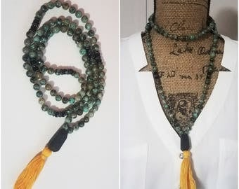 African Turquoise Mala Tassel Necklace