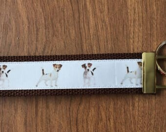 Jack Russell Key Chain Wristlet Zipper Pull