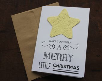 NEW**Have yourself a Merry Little Christmas Seed Paper Card with recycled paper envelope- 19 Seed Paper Shapes Available