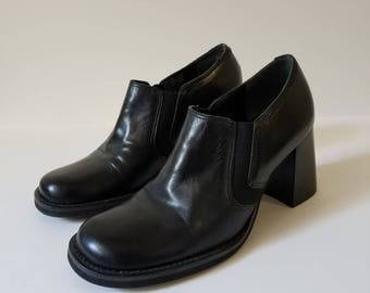 Nine West Black Leather Ankle Boots / Size 7M /
