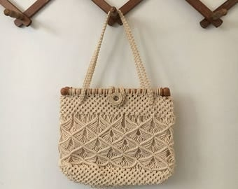 Vintage Crochet Wooden Hand Purse
