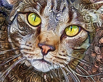 Tabby Cat Print, Brown Tabby, Cat Art, Steampunk Print, Pet Portrait, Feline Artwork, Cat Lover Gift