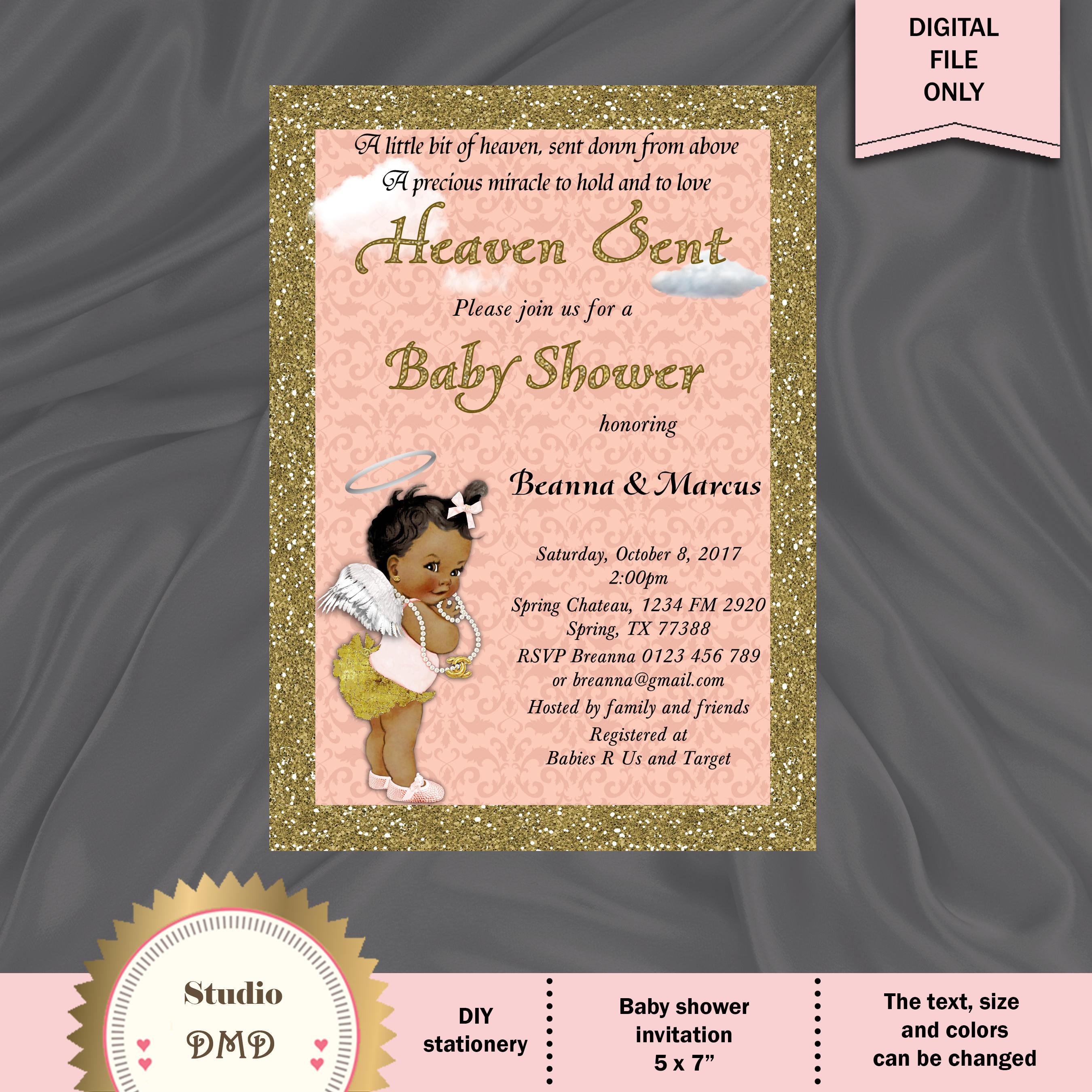 Heaven Sent Baby Shower Invitation Sent From Heaven Little