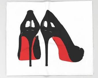 Fashion Illustration Velveteen Blanket, Throw Blanket 50x60 60x80 0r 90x90, Fashion Decor, Dorm Room, Bedding, Gift for Her, White Black Red