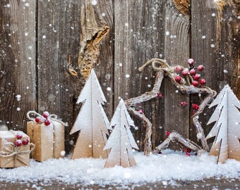 Christmas snowy wood Photography Backdrop, Christmas trees photoshoot background,Children portraits studio photo backdrops XT-6187