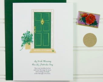 St. Patricks Day Card, St. Patrick's Day, Irish Blessing, New Home, Cute Card, Custom Card, New Apartment Card, New House, Good Luck, Prayer