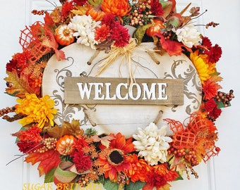 Fall Welcome Wreath, Autumn Welcome Wreath, Fall Welcome Wreath with Pumpkin Sign