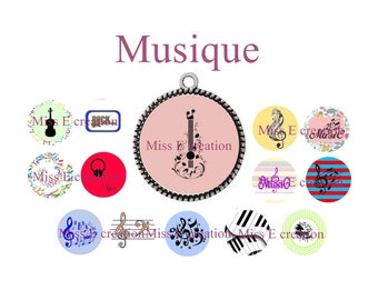 Music Board digital images for cabochon 25mm and 20mm and 18mm