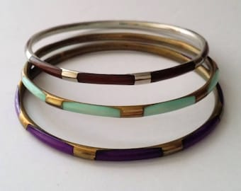 Vintage Brass Bangle Bracelet Lot of 3 pieces