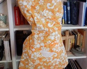 Apron, Hawaiian Apron, Re-fashioned Sundress, Bird Apron, flower Apron, Orange Apron, Up-cycled Apron, Kitchen Apron, hawaiian, fabric
