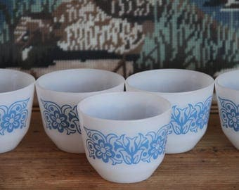 Vintage Fire King USA ramekin Blue   floral decal 1970s vintage custard cups (set of 5)