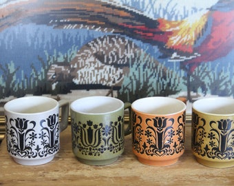 Vintage, 1970s Retro Ceramic Coffee Mugs (set of 4)