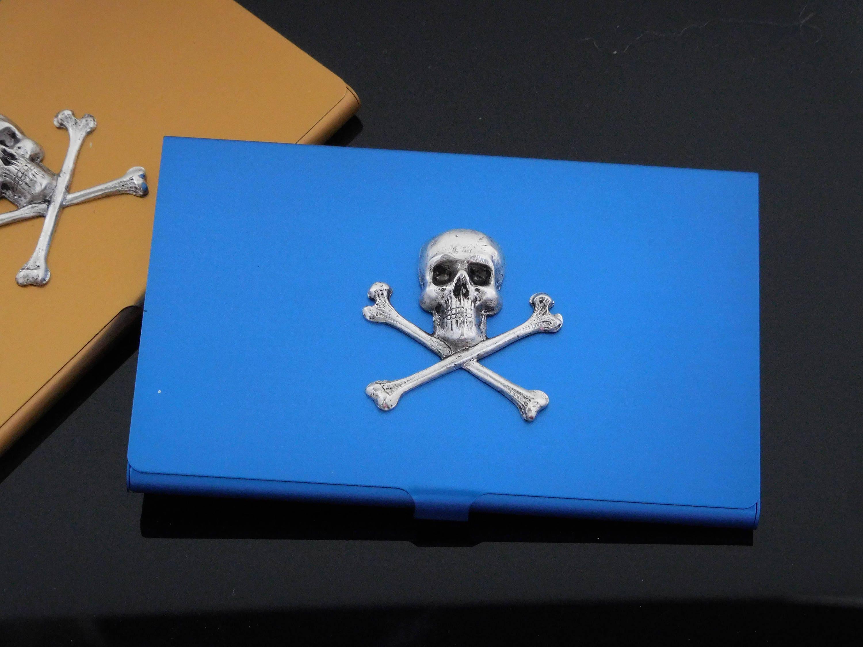 Blue skull business card case skull credit card holder zoom magicingreecefo Choice Image
