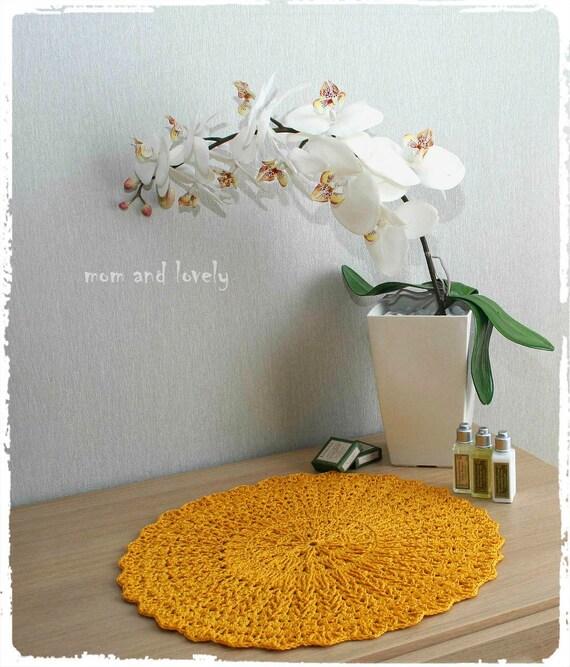 Napperon Au Crochet Fait A Main Couleur Jaune/Ocre