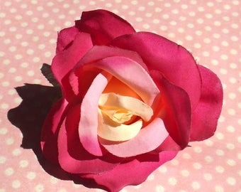 Pretty rose hair clip in pink and cream
