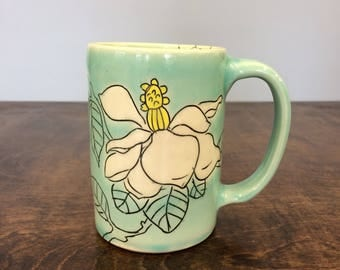 Handmade Mug with Magnolia Drawings. In Aqua & Lime. MA4