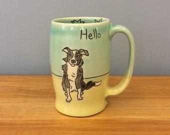 Handmade Hello/Toodle-oo Mug. With Border Collie. Glazed in Aqua & Lime. MA131