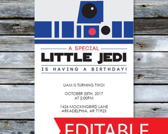 "Star Wars Birthday Invitation R2D2  |  Instant Download Invite  |  Editable PDF  |  5x7"" A7"