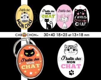 J'habite chez mon Chat  • 45 Images Digitales OVALES 30x40 18x25 13x18 mm chat habiter maison roi chaton humour etoiles couronne patte