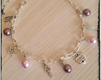 Bracelet beads Bohemian pink and silver charms