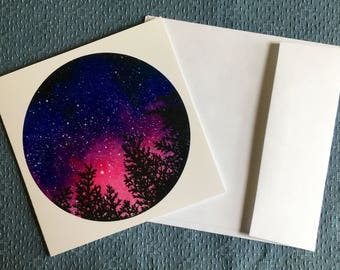 TREES with PINK SKY sunset starry sky nature Greeting Card
