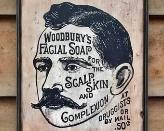 Vintage wooden sign 'Woodbury Facial Soap' Reproduction concept