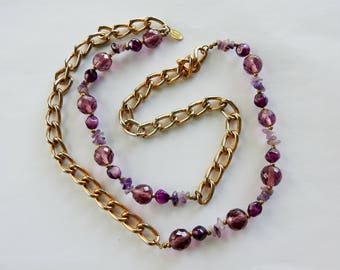 Mariam Haskell amethyst chain necklace.