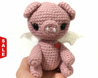 Sale -  Amigurumi Pig Doll Crochet Pig Doll Kids Toy Pink Pig Doll Nursery Decor Photo Prop Birthday Gift for Her Mother's Day Gift