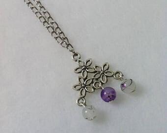 Silver Pendant Necklace triangle and Pearl White/purple
