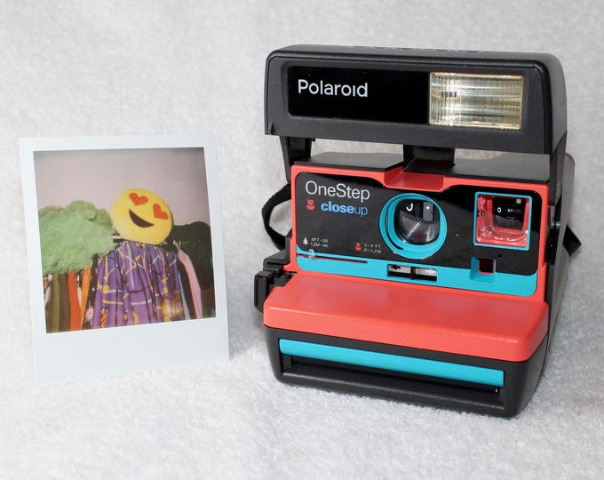 Coral and Turquoise Upcycled Polaroid 600 OneStep With Close Up And Flash Built-In