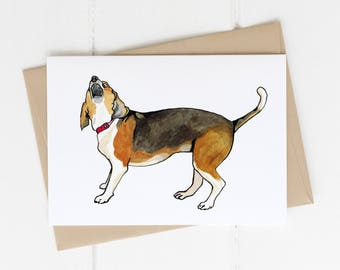 A7 Greeting Card, Beagle, Howling Hound Dog Print, Pen and Ink Drawing