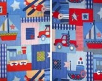 Retro inspired planes, trains and automobiles cotton fabric