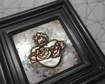 Jewelled Sacred Heart : hand embossed anatomical repoussé metal wall art
