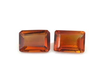 Santa Ana Madeira Citrine Set of 2 Loose Gemstones Octagon Cut 1A Quality 7x5mm TGW 1.60 cts.