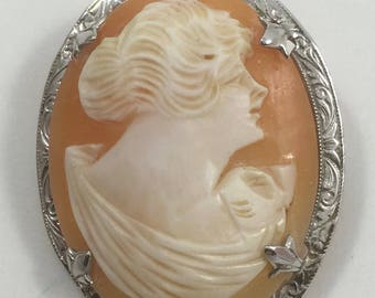 Vintage Oval Carved Shell Lady Cameo in Engraved Sterling Silver Frame Brooch