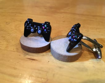 Play Station Video Game Controller Console Enamel Metal Black Silver Cuff Links Cuff Link Wedding Bride Groom New Years